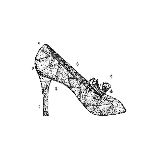 Vector de dotwork de zapato de cristal. ilustración de boceto dibujado a mano del tatuaje.