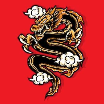 Vector de dragon dorado