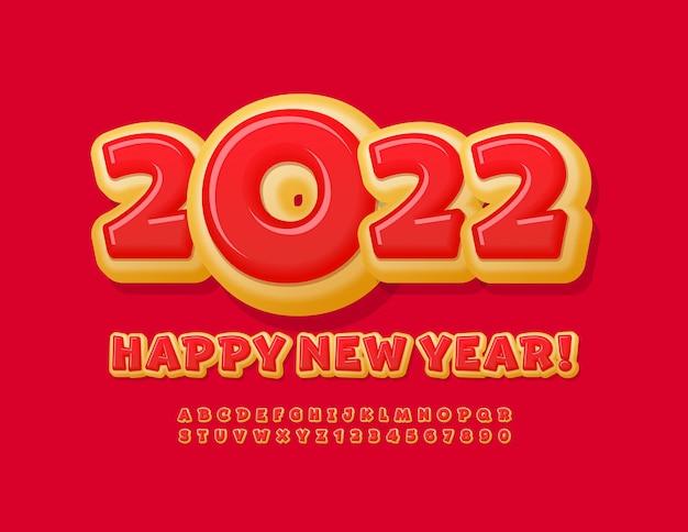 Vector dulce tarjeta de felicitación feliz año nuevo 2022 bright donut font alfabeto letras y números conjunto