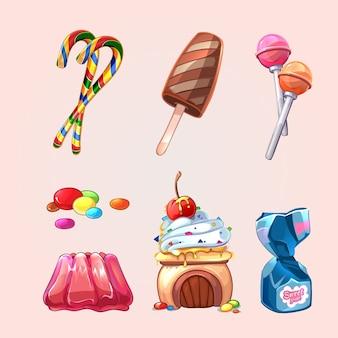 Vector dulces y galletas en estilo de dibujos animados. piruleta y caramelo, deliciosos dulces sabrosos, pastel y helado