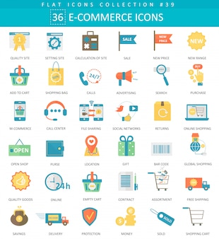Vector e-commerce color plano conjunto de iconos