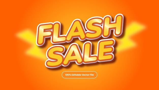Vector de efecto de fuente de estilo de texto de título de promoción naranja. estilo de texto de venta flash editable.