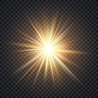 Vector el efecto luminoso realista del starburst, el sol amarillo con los rayos y el resplandor en fondo transparente.