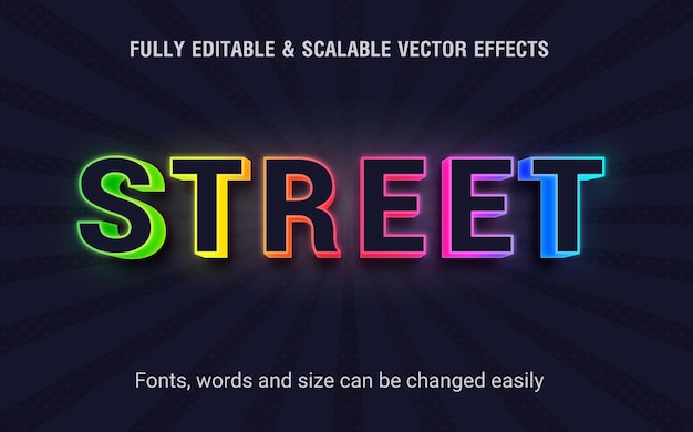 Vector de efecto de texto editable de calle