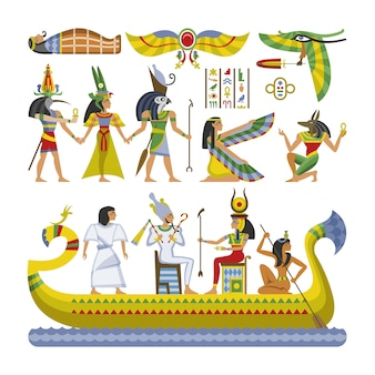 Vector egipcio faraón personaje antiguo hombre mujer dios ra anubis estatua en barco