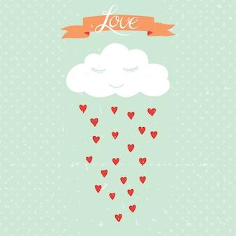 Vector el ejemplo de la historieta con la nube y la lluvia de corazones.