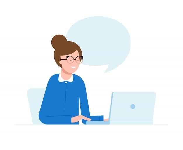 Vector el ejemplo de una mujer que se sienta delante de la computadora y que trabaja en un proyecto, buscando, charlando.