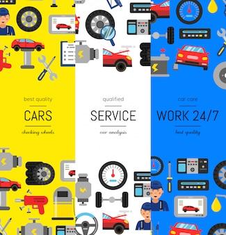 Vector el ejemplo vertical de las banderas del cartel del web con los elementos planos del servicio del coche del estilo. plantilla de página de servicio de coche