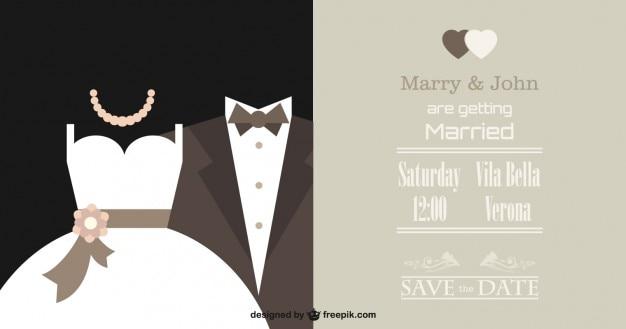Vector elegante invitación de boda vector gratuito