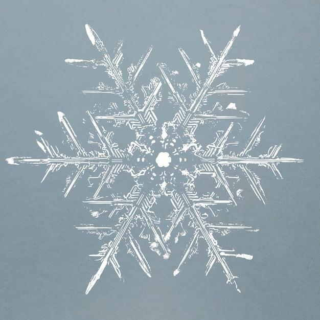 Vector de elemento de copos de nieve realista en fondo azul