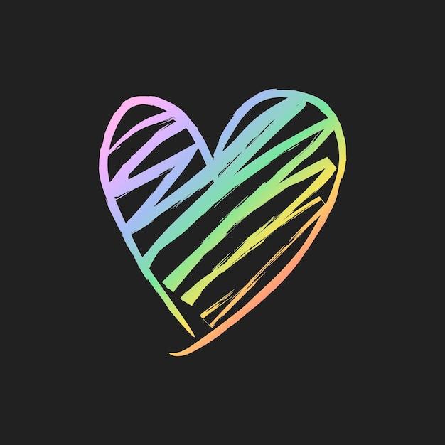 Vector de elemento de corazón holográfico de arco iris en estilo dibujado a mano