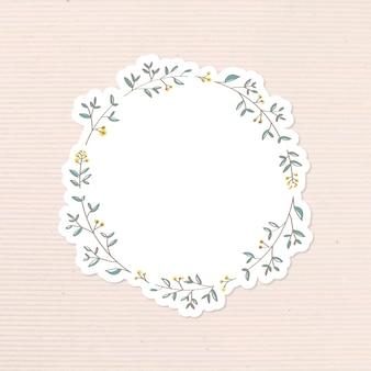 Vector de elemento de diseño de etiqueta de diario de doodle frondoso
