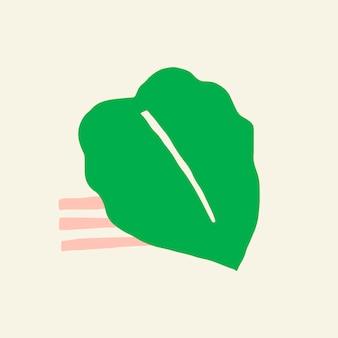 Vector de elemento de diseño de hoja tropical verde grande