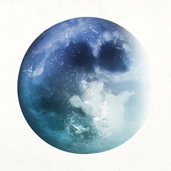 Vector de elemento de luna azul en fondo blanco