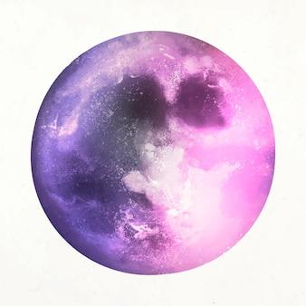 Vector de elemento de luna colorida en fondo blanco