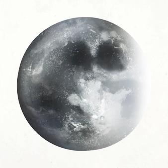 Vector de elemento de luna realista en fondo blanco