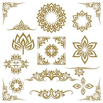 Vector de elementos decorativos étnicos tailandeses. elemento étnico, adorno decorativo, ilustración étnica tailandesa