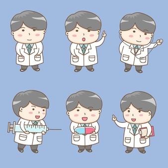 Vector de los elementos del diseño del personaje de dibujos animados lindo del doctor.