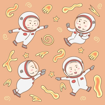 Vector de elementos de diseño de personajes de dibujos animados de astronautas lindos en operaciones espaciales.