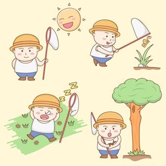 Vector de los elementos del diseño de los personajes de dibujos animados gordos lindos del muchacho que juegan alrededor del jardín.