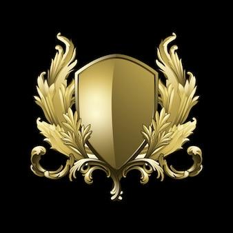 Vector de elementos de escudo barroco dorado