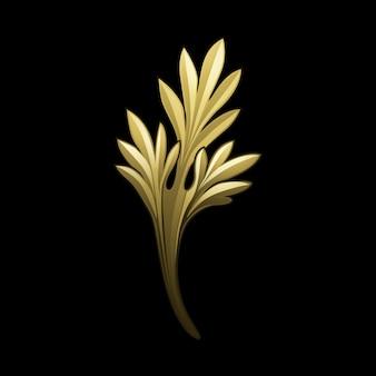 Vector de elementos florales de oro barroco