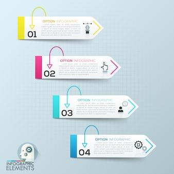 Vector elementos de infografía 3d de papel abstractos