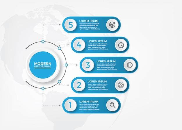 Vector elementos de infografía de papel 3d abstractos. infografía de negocios con los iconos.