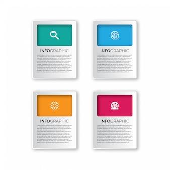 Vector elementos de infografía de papel 3d abstractos