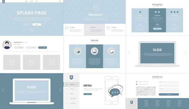 Vector de elementos del sitio web para diseño web