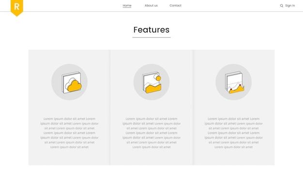 Vector de elementos del sitio web para diseño web.