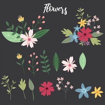Vector de elementos de variedad de flores, hojas y ramas