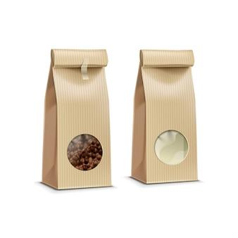 Vector de embalaje de café paquete bolsa aislado en blanco