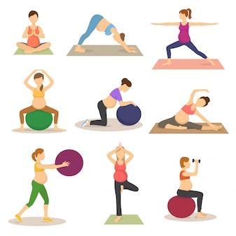 Vector de embarazo fitness personaje de mujer embarazada hace yoga o ejercicios con fitball ilustración conjunto de madre embarazada