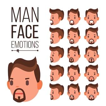 Vector de emociones de hombre. conjunto de expresiones de avatar de cara masculina diferente. conjunto emocional para la animación
