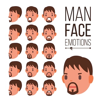 Vector de emociones de hombre. retratos de rostro masculino joven. casco sport hockey. tristeza, ira, rabia, sorpresa, choque
