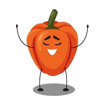 Vector emoji pimienta naranja con una cara sonriente