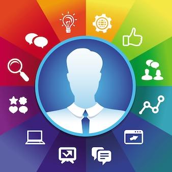 Vector de empresario avatar en el marco del círculo y los iconos de redes sociales - concepto de marketing en internet