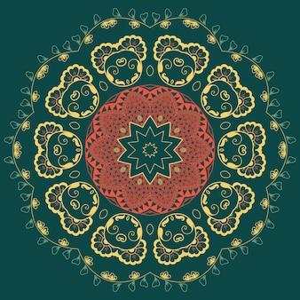 Vector de encaje redondo ornamental con elementos de damasco y arabescos. mehndi estilo. oriente ornamento tradicional. zentangle-como el ornamento floral coloreado redondo.