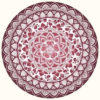 Vector de encaje redondo ornamental con elementos de damasco y arabescos.