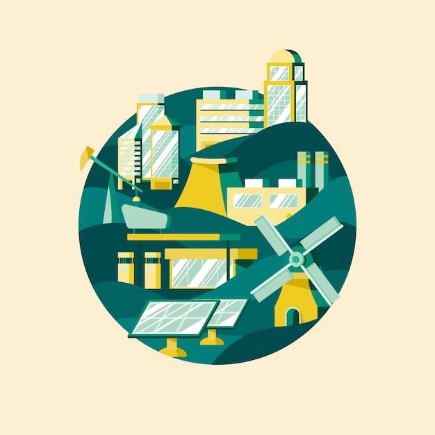 Vector de energía alternativa en verde
