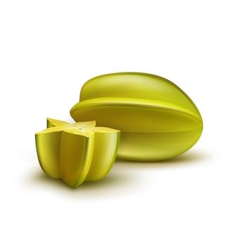 Vector entero y medio cortado carambola madura verde, amarillo aislado sobre fondo blanco.