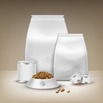 Vector de envases en blanco, productos enlatados y cuenco con alimento aislado sobre fondo marrón
