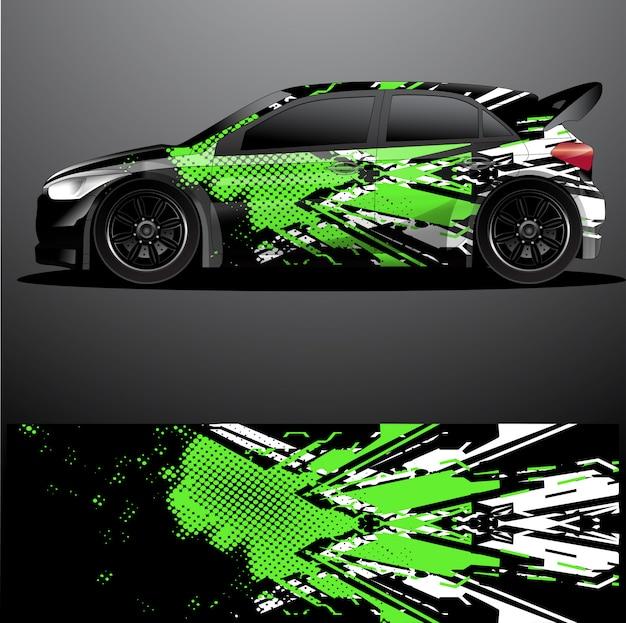 Vector de envoltura gráfica de calcomanía de coche de rally, fondo abstracto