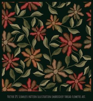 Vector eps ilustración de hilo de bordado superpuesto de patrones sin fisuras arte floreciente de las flores.