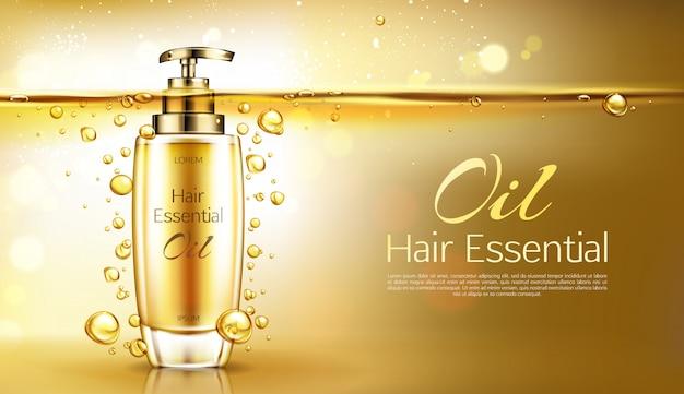 Vector la esencia realista 3d en la botella de cristal de oro con el dispensador de la bomba. d cartel, banner promocional