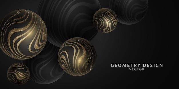 Vector esferas 3d con patrón de rayas onduladas brillantes de oro. diseño de geometría. fondo de burbuja