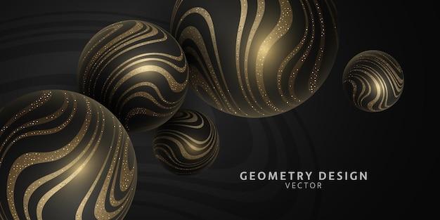 Vector esferas 3d con patrón de rayas onduladas brillantes de oro. diseño de geometría.