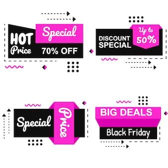 Vector especial de black friday pink banner set