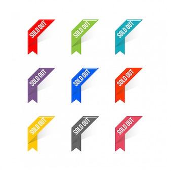 Vector de la esquina de la bandera de la cinta, ilustración